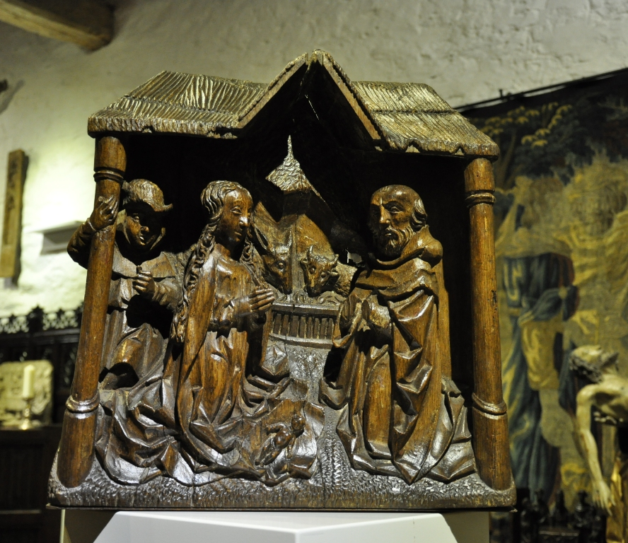 A BEAUTIFUL LATE 15TH/EARLY 16TH CENTURY OAK CARVING OF THE NATIVITY. FLEMISH. CIRCA 1500.