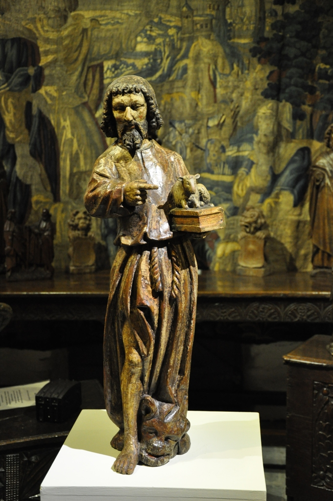 A BEAUTIFUL LATE MEDIEVAL MOSAN SCULPTURE OF ST JOHN THE BAPTIST. CIRCA 1480.
