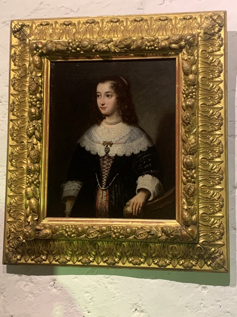 A FINE AND DETAILED 17TH CENTURY OIL ON CANVAS PORTRAIT OF ELIZABETH OF PALATINATE.