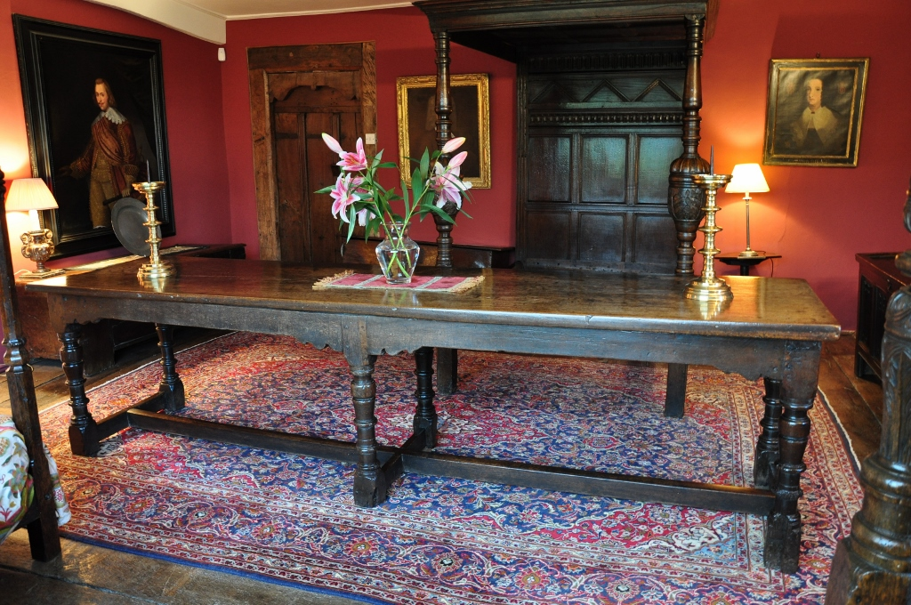 A WONDERFUL RARE CHARLES I OAK SIX LEGGED REFECTORY TABLE. CIRCA 1640.